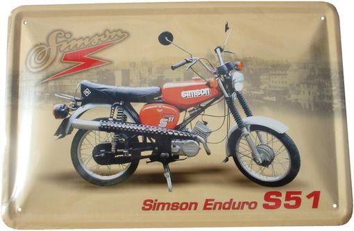 blechschild simson s51 enduro motorrad ddr oldtimer kult. Black Bedroom Furniture Sets. Home Design Ideas