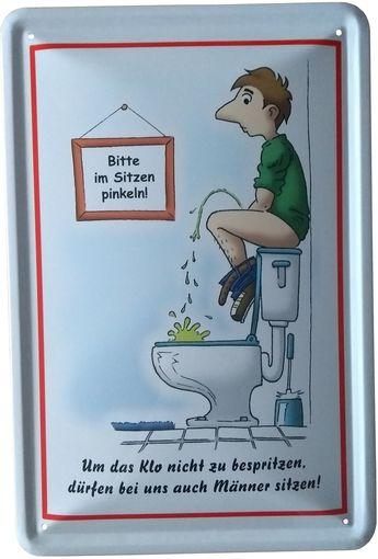 Blechschil D 20x30 Bitte Im Sitzen Pinkeln Klo Spruch Toilette